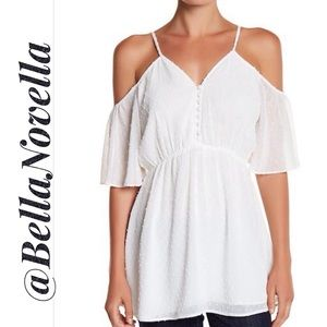 Maeve! White Swiss Dot Cold Shoulder Tunic Blouse